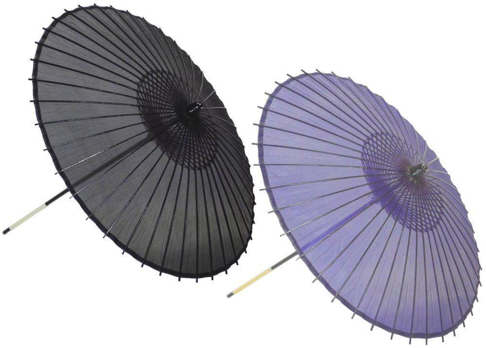 高級絹傘15 紫・黒 国産 装飾・文化祭・大道芸・コスプレの小道具としても最適!【舞台・舞傘・撮影・小道具】