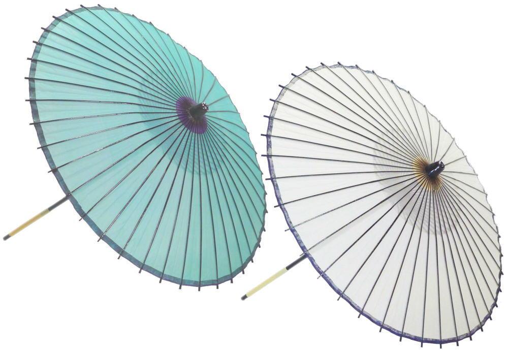 高級絹傘18 草・白 国産 装飾・文化祭・大道芸・コスプレの小道具としても最適!【舞台・舞傘・撮影・小道具】
