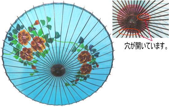 わけあり(穴開き)絹傘 手描き椿 装飾・文化祭・大道芸・コスプレの小道具としても最適!【舞台・舞傘・撮影・小道具】