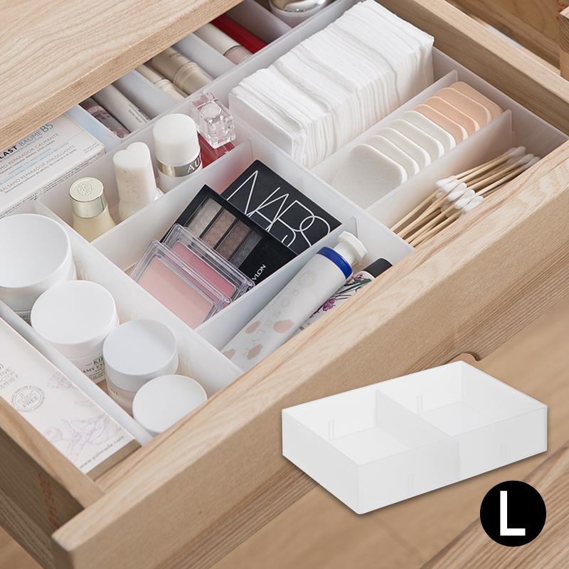 仕切り板1枚付き デスク整理トレー L 仕切りボックス 小物収納 デスクトレー 卓上 引出し 文房具 収納 卓上収納ボックス 小物入れ プラスチック 収納ボックス