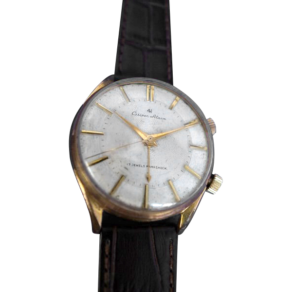 CITIZEN 4ハンズ(FOUR HANDS)モデル国産初のアラーム時計 20MICRONS C・G・P ケース 手巻き 15708 10700127【送料・代引き手数料無料】