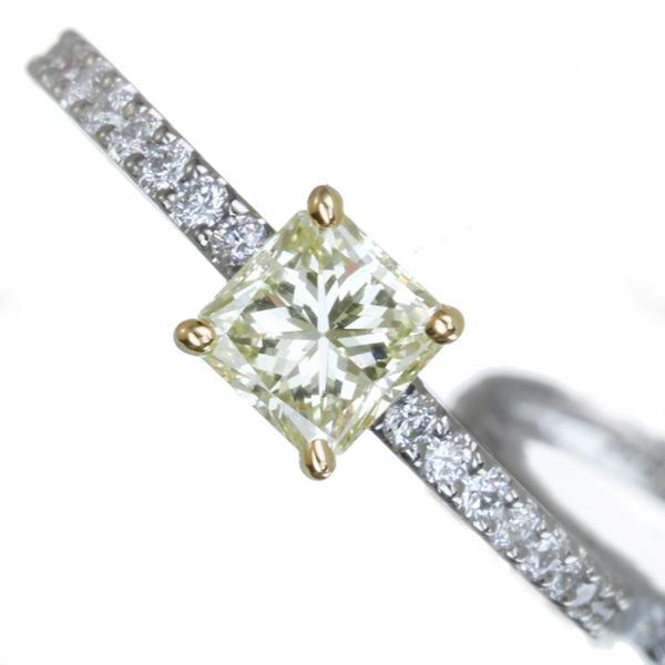【ハンドメイド】イエローダイヤモンドリング スクエア 華奢 サイドタイプPT950/K18 0.534ct LIGHT YELLOW SI-2 イエローダイヤモンド リング 0.24ctダイヤモンド