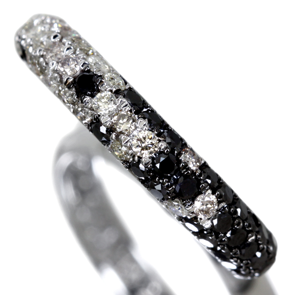 K18WG 0.80ct ブラックダイヤモンド パヴェリング