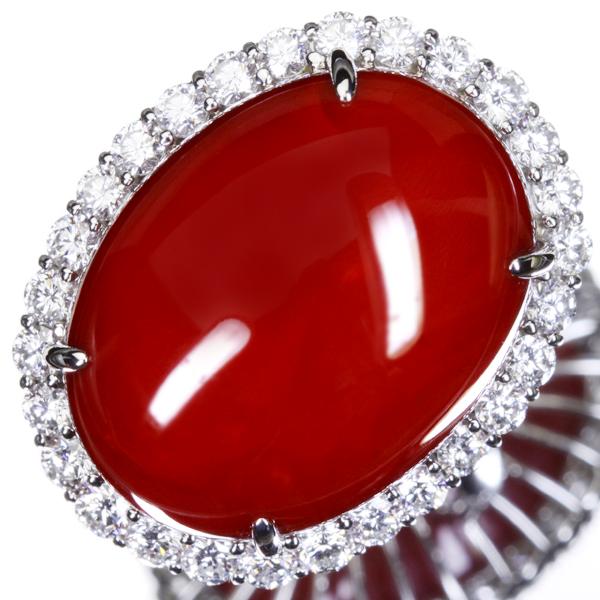 【HANDMADE】PT900 47.66ct 天然血赤珊瑚 リング 2.15ct ダイヤモンド