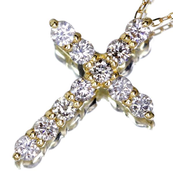 K18 0.3ct ダイヤモンドクロスネックレス