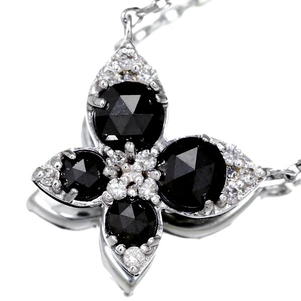 K18WG 0.46ct ブラックダイヤモンド ネックレス 0.06ctダイヤモンド バタフライモチーフ