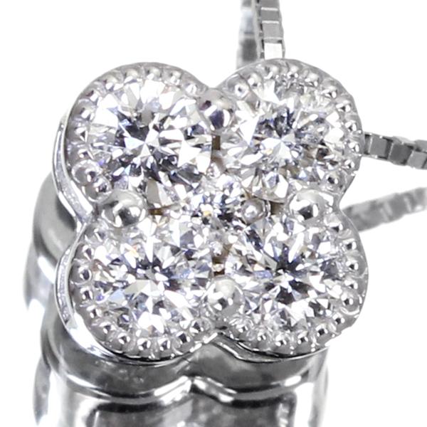 K18WG 0.21ct ダイヤモンド ネックレス