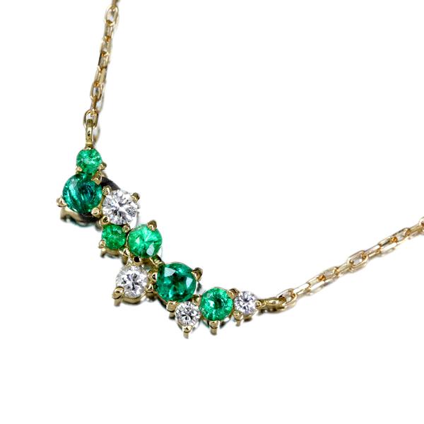 K18 エメラルド ネックレス 0.09ctダイヤモンド