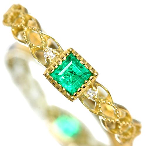 エメラルド リング アンティーク調 スクエアタイプ ダイヤモンド K18