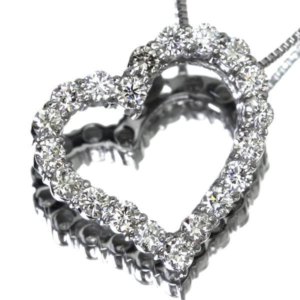 K18WG Total0.50ct ダイヤモンドネックレス ハートモチーフ