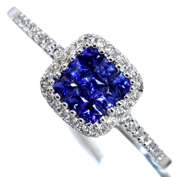 K18WG Total0.35ct ブルーサファイアミステリーセッティングリング Total0.14ctダイヤモンド
