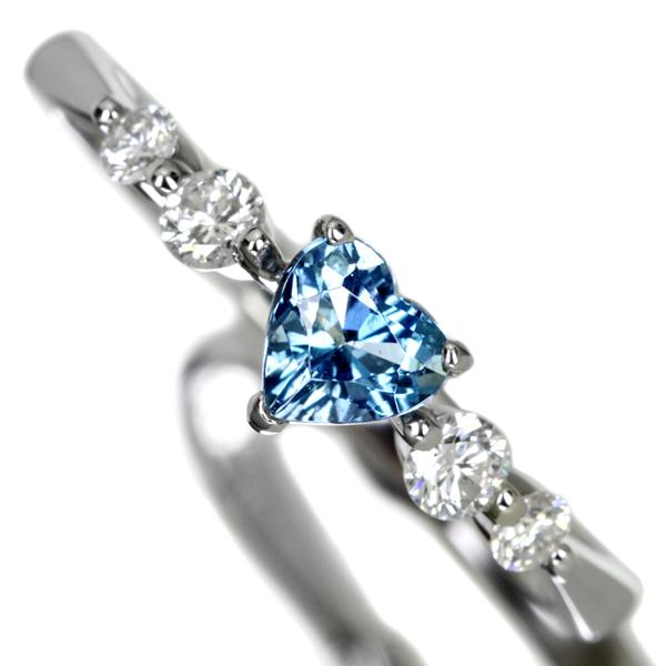 PT900 0.28ctアクアマリンリング Total0.19ctダイヤモンド