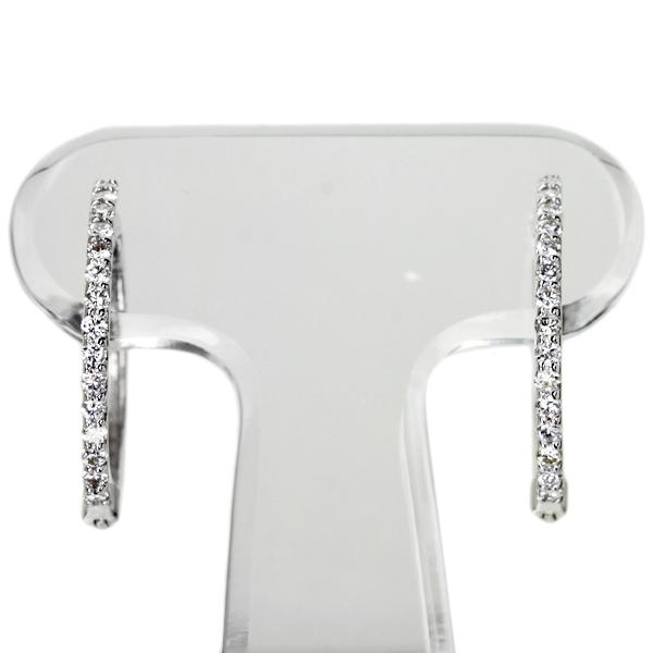 K18WG Total0.3ctダイヤモンドフープピアス※別途¥10,000でプラチナに変更可