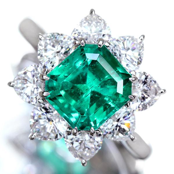 【ハンドメイド】コロンビア産エメラルド PT950 2.556ct  F1マイナーエンハンスメント エメラルド リング 1.916ctダイヤモンド