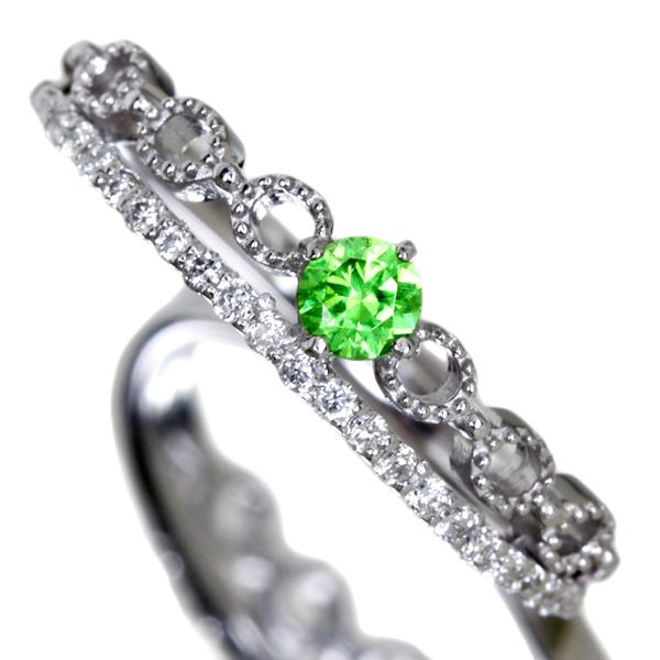 PT900 0.14ct ロシアウラル産 結婚祝い 商品追加値下げ在庫復活 リング 0.11ctダイヤモンド デマントイドガーネット