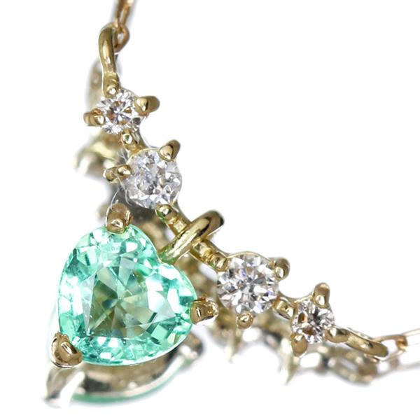 K18 エメラルド ネックレス 0.08ct ダイヤモンド ダイヤ