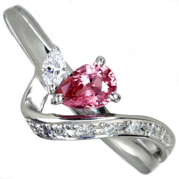 パパラチャサファイア 0.473ct リング ダイヤモンド 0.14ct PT900