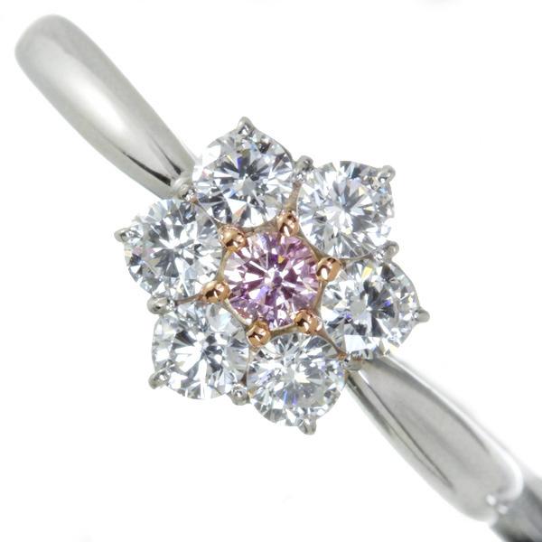 ピンクダイヤモンドリング 0.06ct-0.07ct FANCY LIGHT PURPLISH PINK/FANCY LIGHT PINK ダイヤモンド 0.5ct PT900/K18PG 天然ピンクダイヤモンド FANCY クラス※中央宝石研究所