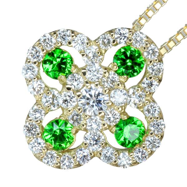 デマントイドガーネットネックレス フラワーモチーフ 0.105ct /ダイヤモンド0.19ct K18