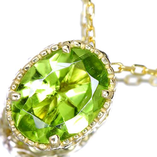 K18 約1ct ペリドット ネックレス 0.02ct ダイヤモンド 【送料無料】
