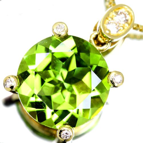 K18 約3ct ペリドット ネックレス 0.05ct ダイヤモンド【送料無料】