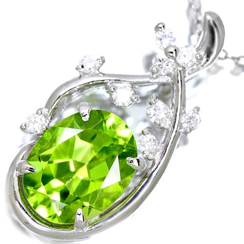 K18 約1.9ct ペリドット ネックレス 0.1ct ダイヤモンド 【送料無料】