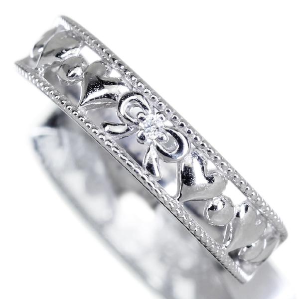 ダイヤモンドリング リボン ハートモチーフ K10 0.01ct ダイヤモンド