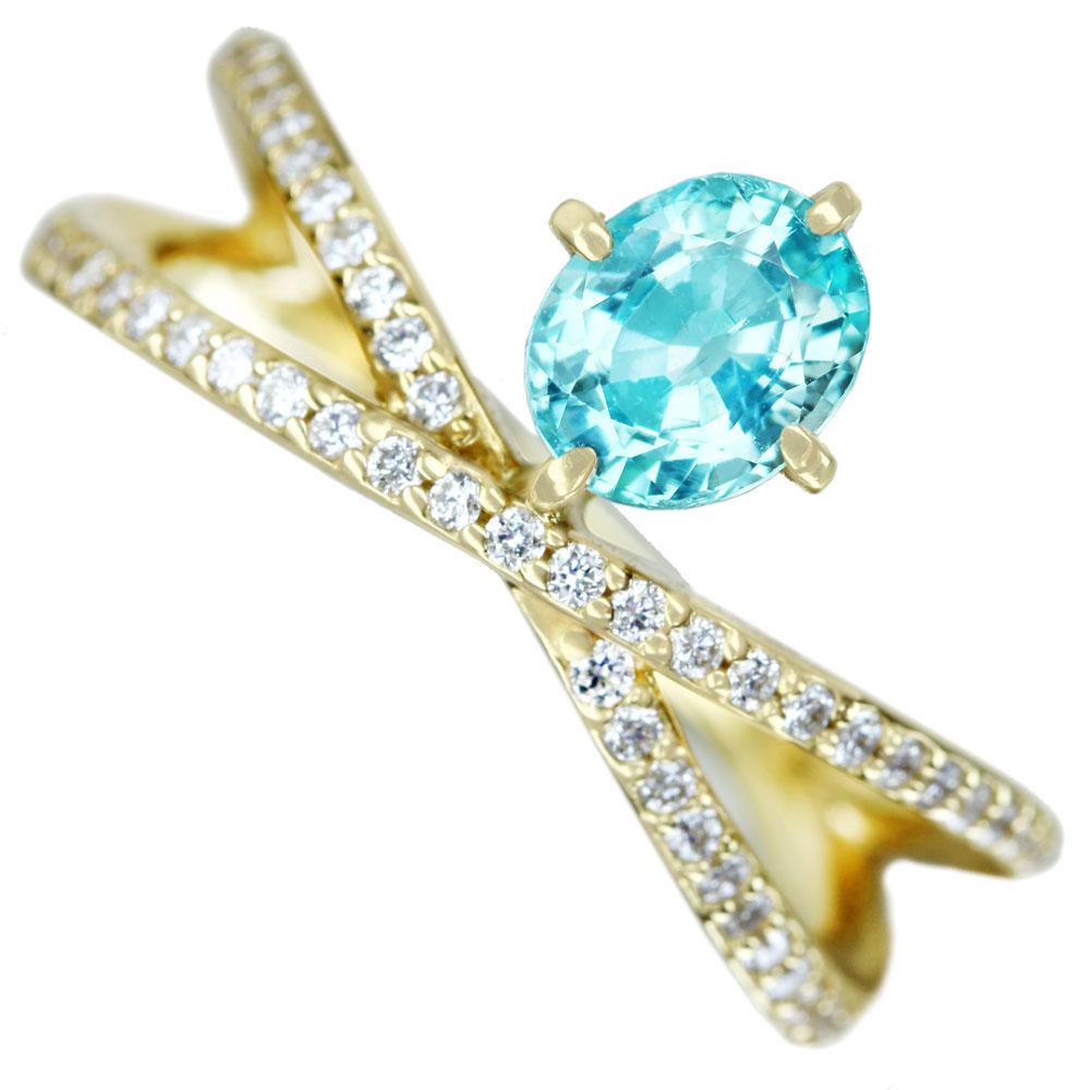 【HANDMADE】パライバトルマリン 0.66ct ダイヤモンド 0.381ct リング K18