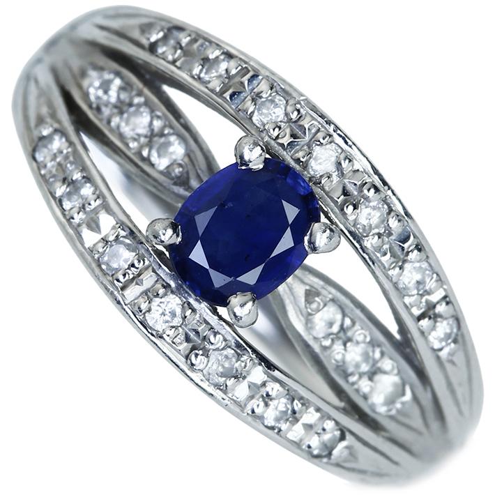 【新作】PT900 サファイヤ 0.4ct リング ダイアモンド 0.2ct煌くブリリアンス 透かし
