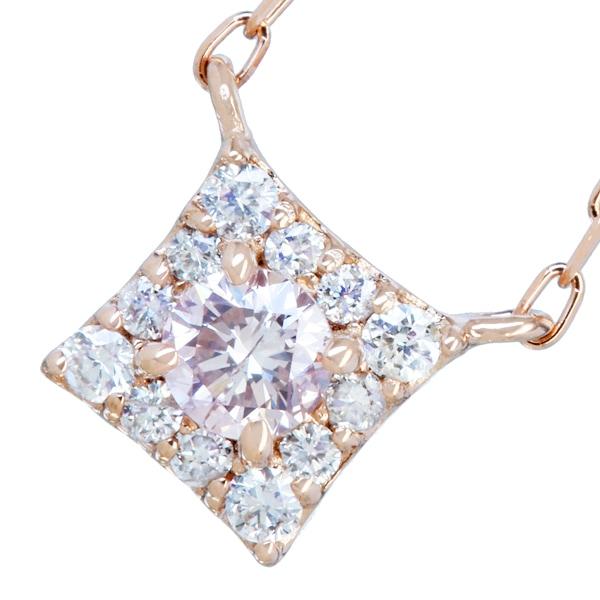 K18PG ネックレス ダイヤ ピンクダイヤモンド 0.1ct 0.08ctダイヤモンド ピンクダイヤ