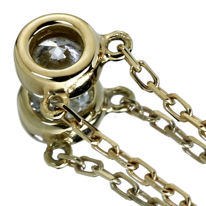 ベゼルセッティング ネックレス K18 ダイヤモンド 一粒ジュエリー