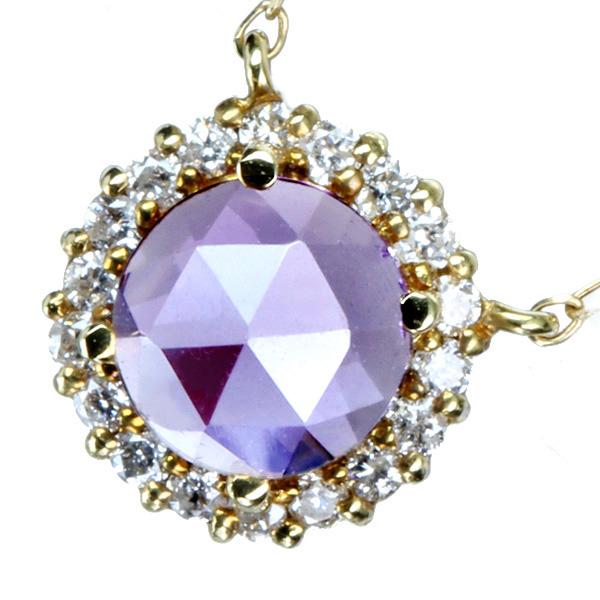 K18 アメシスト ネックレス ダイヤモンド 0.09ct