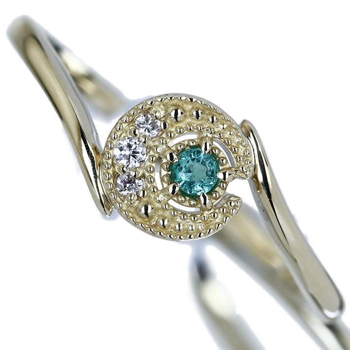 K18 エメラルド ダイヤモンド0.02ct リング