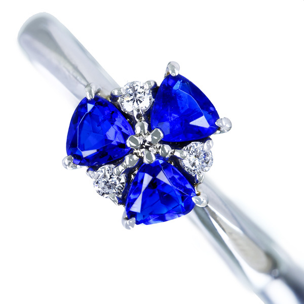 PT900 アウイナイト 0.42ct ダイヤモンド 0.06ct リング トリリアントカット レアストーン 希少石
