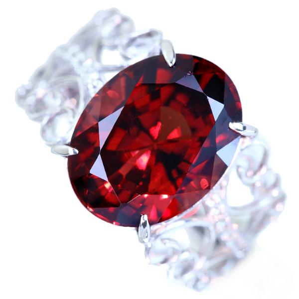 【大粒】PT900 ガーネット 9.546ct ダイヤモンド 0.13ct リング
