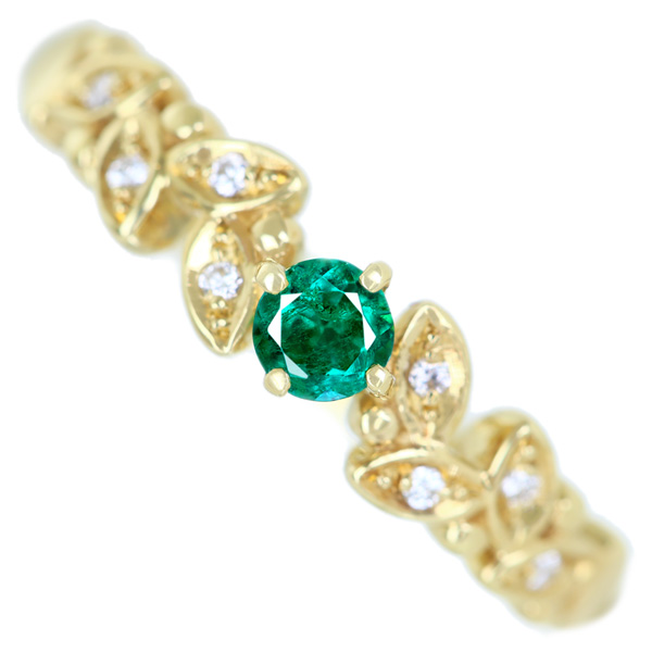 K18 エメラルド 0.13ct ダイヤモンド 0.03ct リング 濃厚グリーン