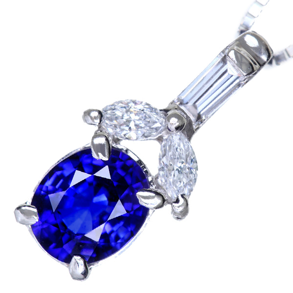 PT900/K18WG ブルーサファイア 0.55ct ダイヤモンド 0.14ct ネックレス 上質 ロイヤルブルー