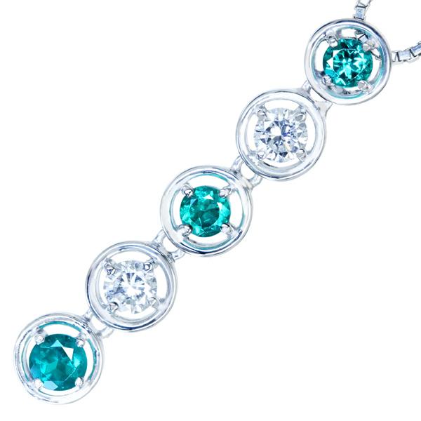 K18WG エメラルド 0.35ct ダイヤモンド 0.29ct ネックレス コロンビア産 本筋のグリーン
