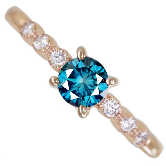 K18PG トリートブルーダイヤモンド 0.337ct Fancy Deep Green Blue VS1 ダイヤモンド 0.08ct リング