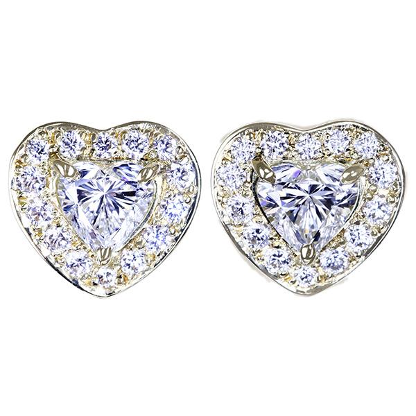 【HANDMADE】K18 ハートシェイプダイヤモンド 0.215ct/0.203ct ダイヤモンド 0.077ct/0.077ct ピアス