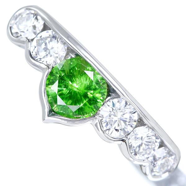 【HANDMADE】PT950 ロシア産デマントイドガーネット 0.634ct ダイヤモンド 0.732ct リング 神秘的なホーステール 麗しいグリーン