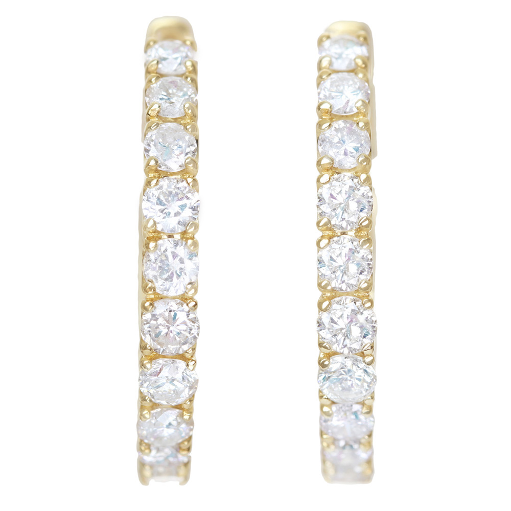 K18 ダイヤモンド 0.5ct/0.5ct ピアス フープピアス