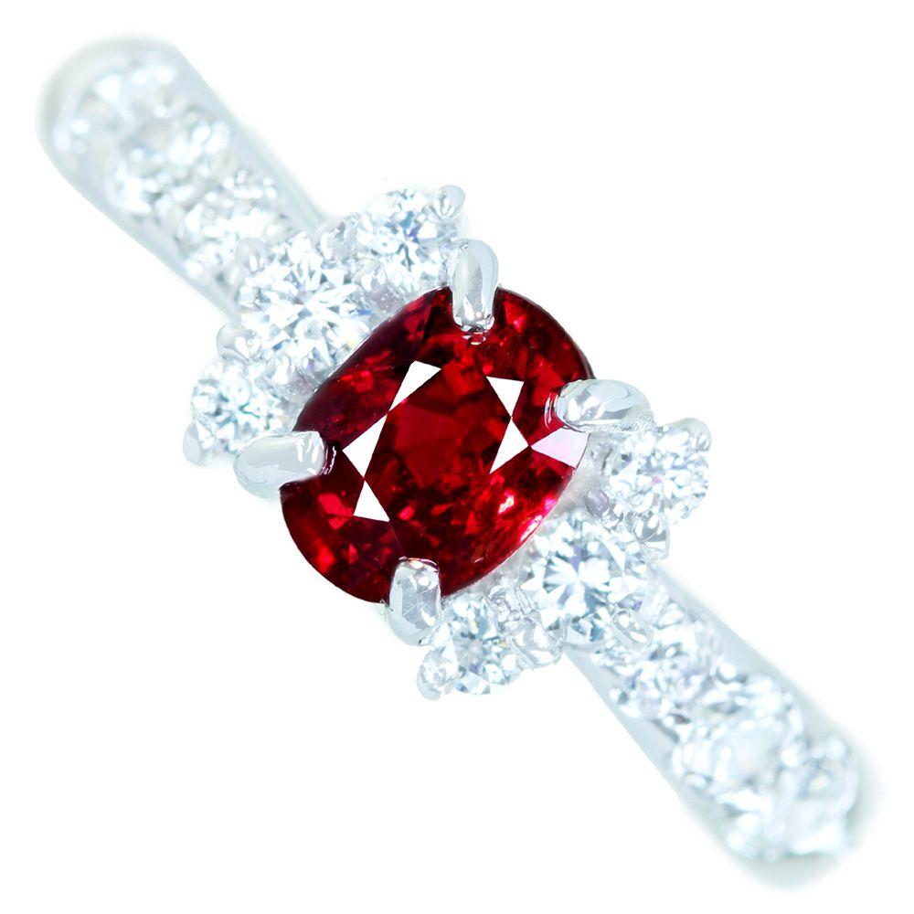 国内最安値! PT900 非加熱ルビー 0.8ct ダイヤモンド 0.4ct リング NO HEAT RUBY, 京都祝着洛寿 9c3b19f8