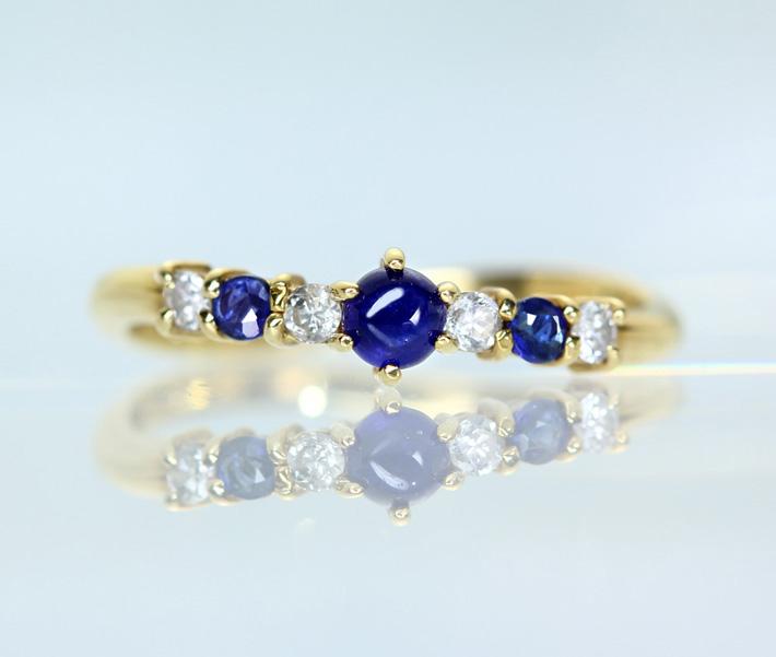 【利益大還元。- Jewelry with HOPE - 】K18 ブルーサファイア 0.15ct ダイヤモンド 0.1ct リング