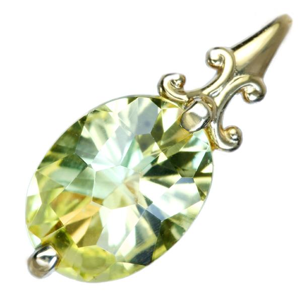 K18 レモンクォーツ 1ct ペンダントトップ ダイヤモンド