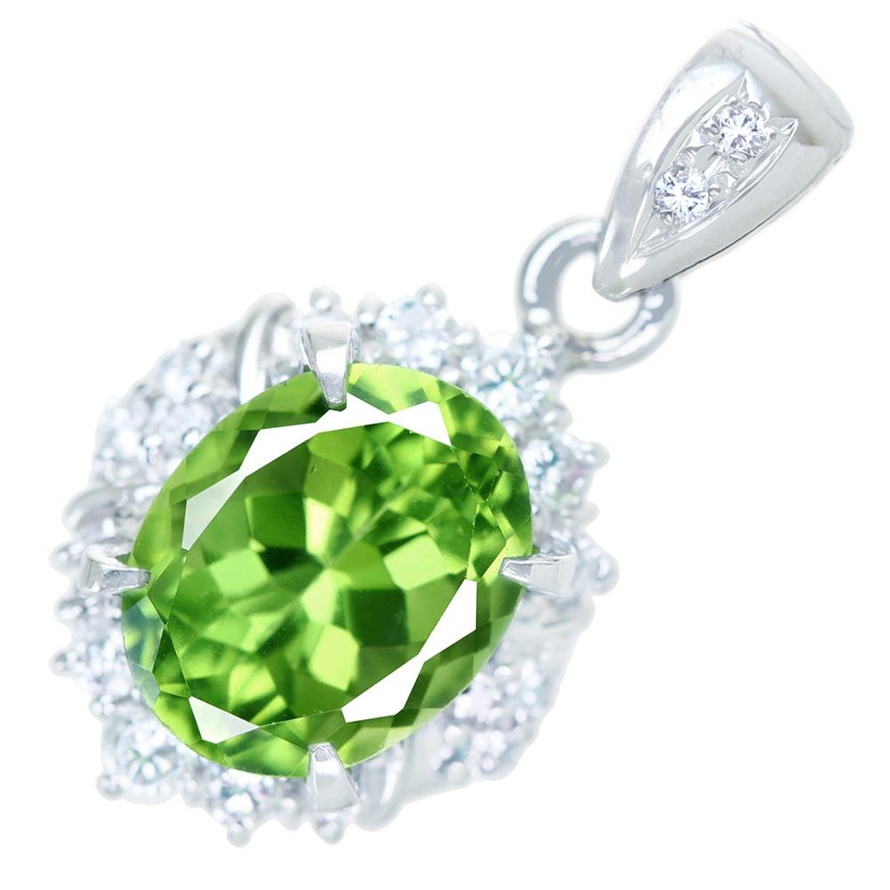 【取り巻きジュエリー】PT900 ペリドット 2.3ct ダイヤモンド 0.26ct ペンダントトップ