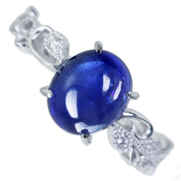 PT900 ブルーサファイア 3.325ct ダイヤモンド 0.07ct リング カボションジュエリー