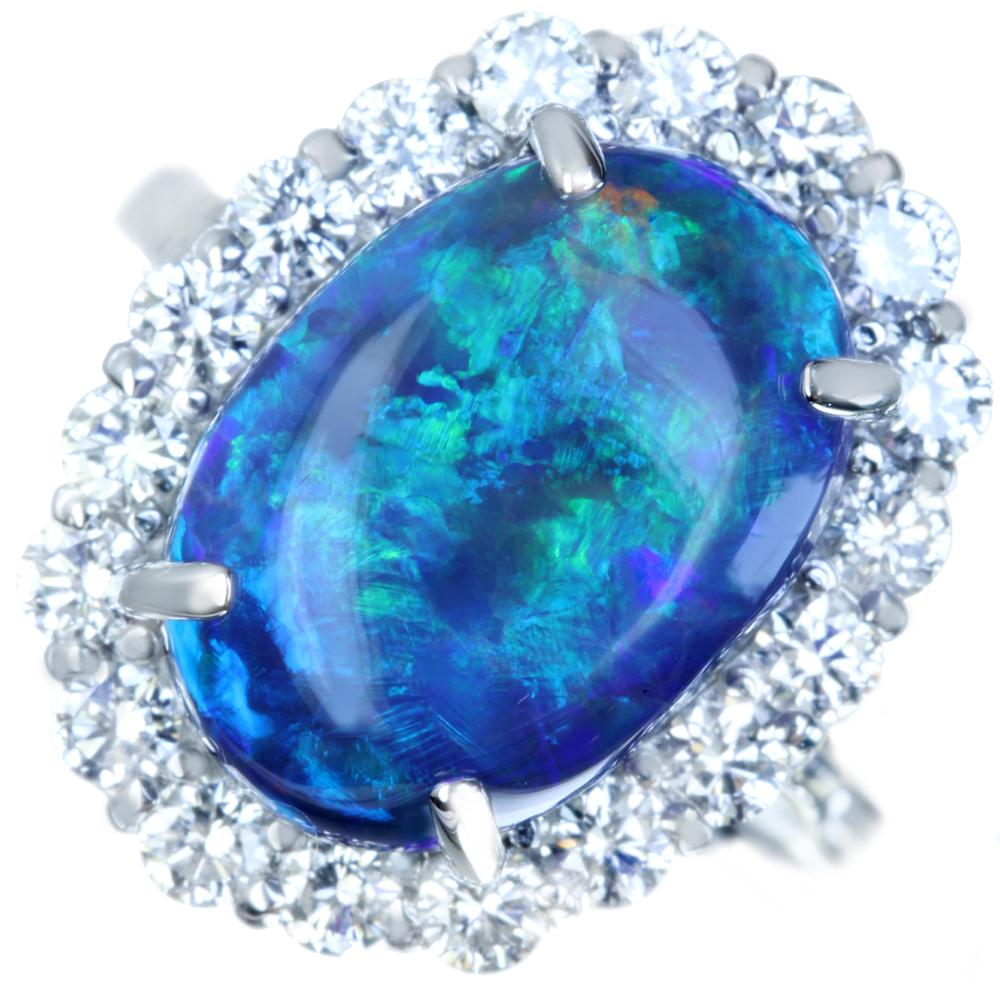 PT900 ブラックオパール 8.70ct リング ダイヤモンド 1.30ct 取り巻き