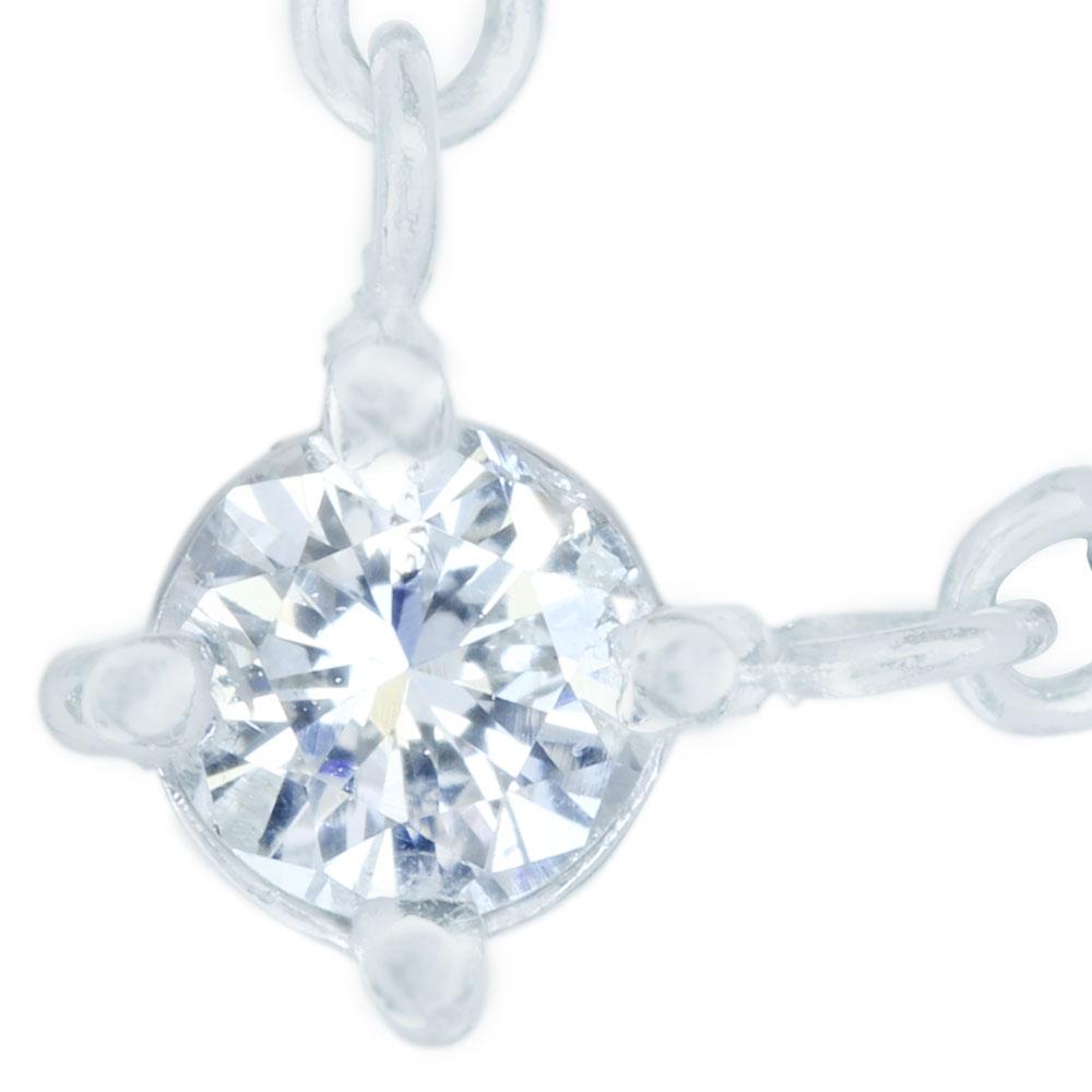 Pt850 ダイヤモンド 0.19ct プチネックレス
