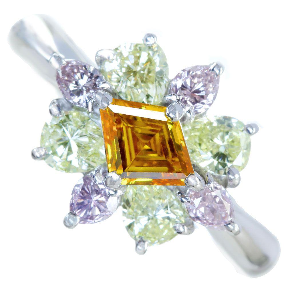 PT900 オレンジダイヤモンド リング 0.528ct ピンクダイヤモンド/グリーンイエローダイヤモンド 1.33ct パンプキンダイヤモンド